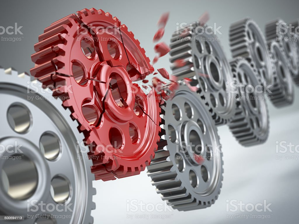 Explosion gear in perpetuum mobile. Weakest link concept. stock photo
