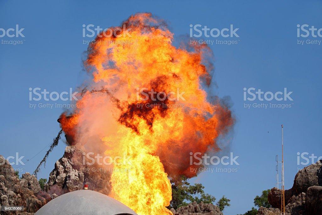 Explosion in mountain . stock photo