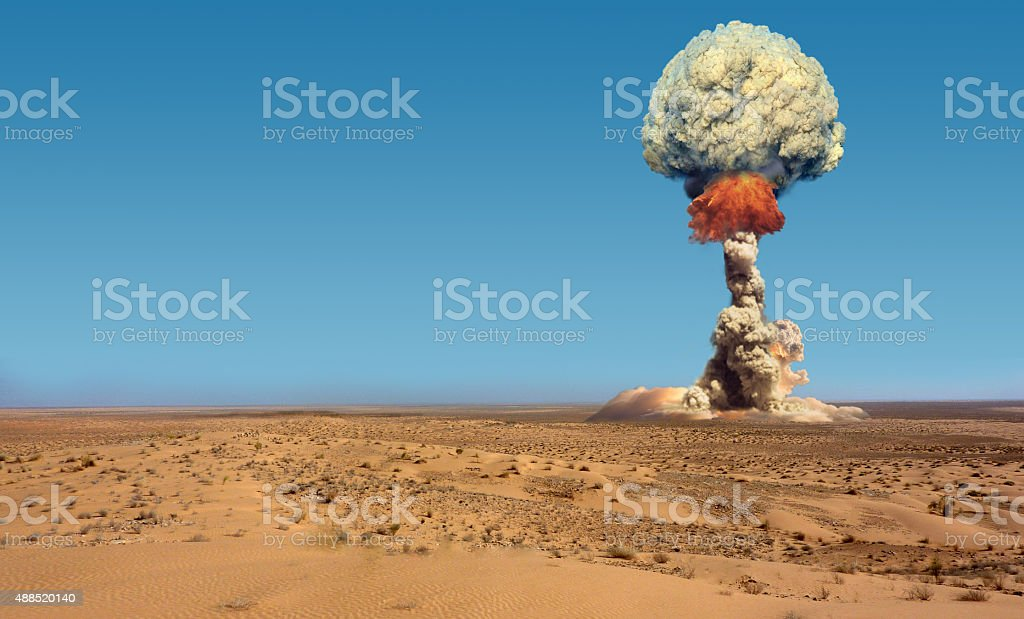Explosion of bomb atomic. stock photo