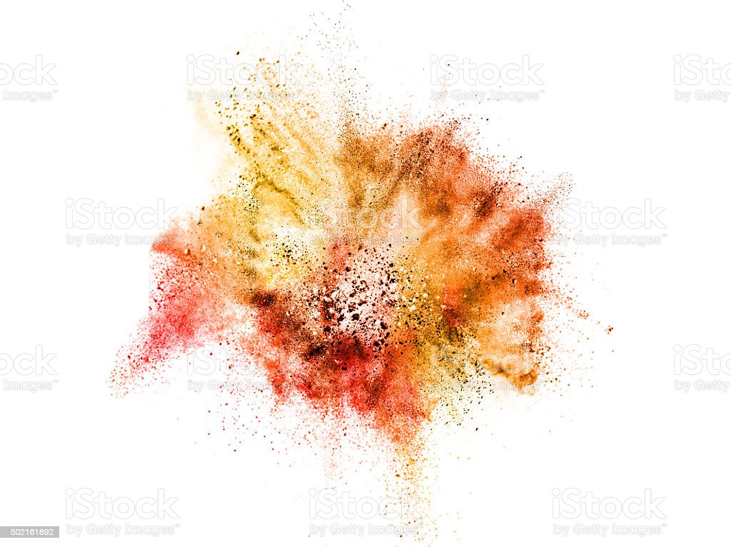 explosion of colored powder isolated on white stock photo