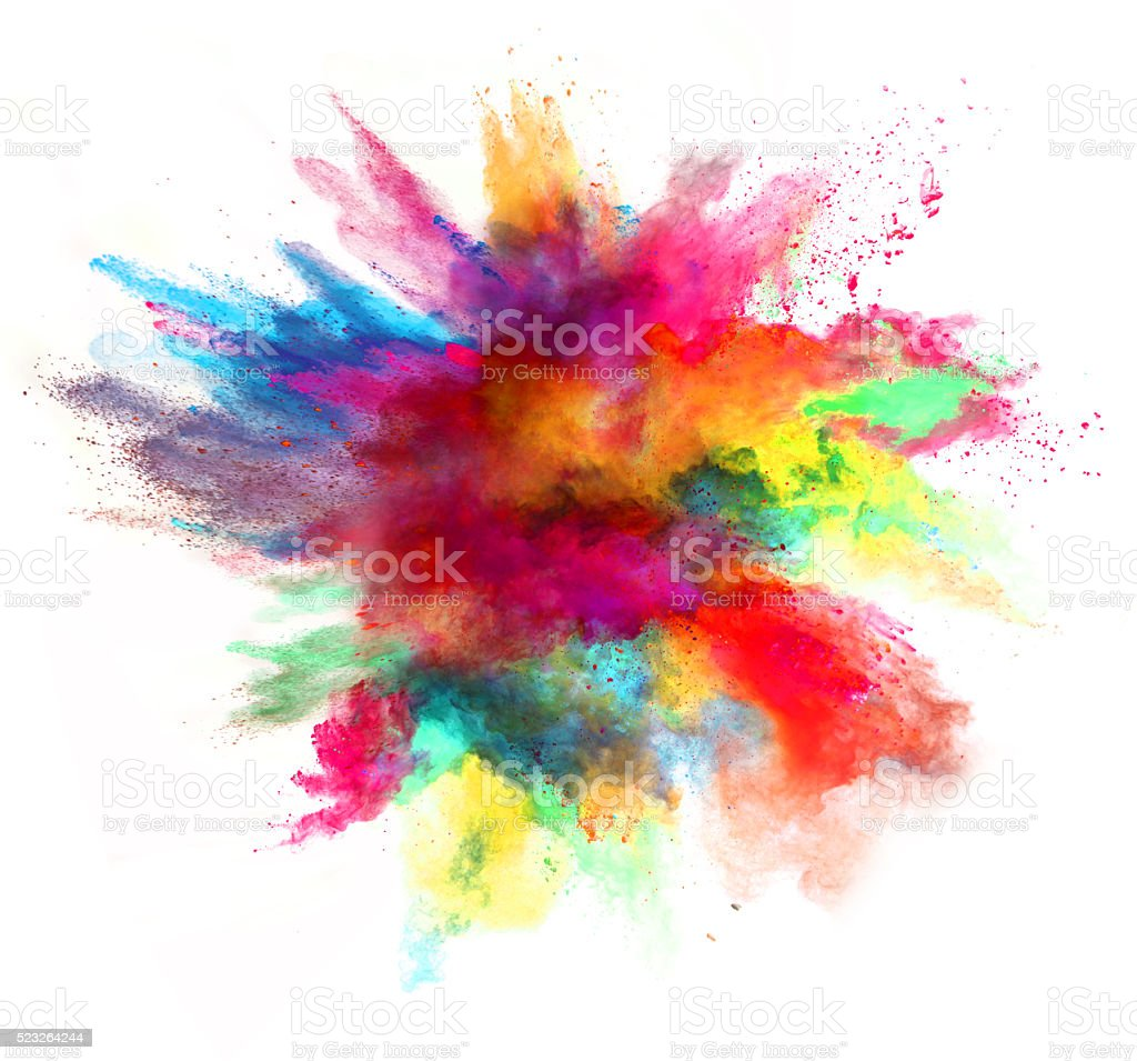 Color powder explosion white background