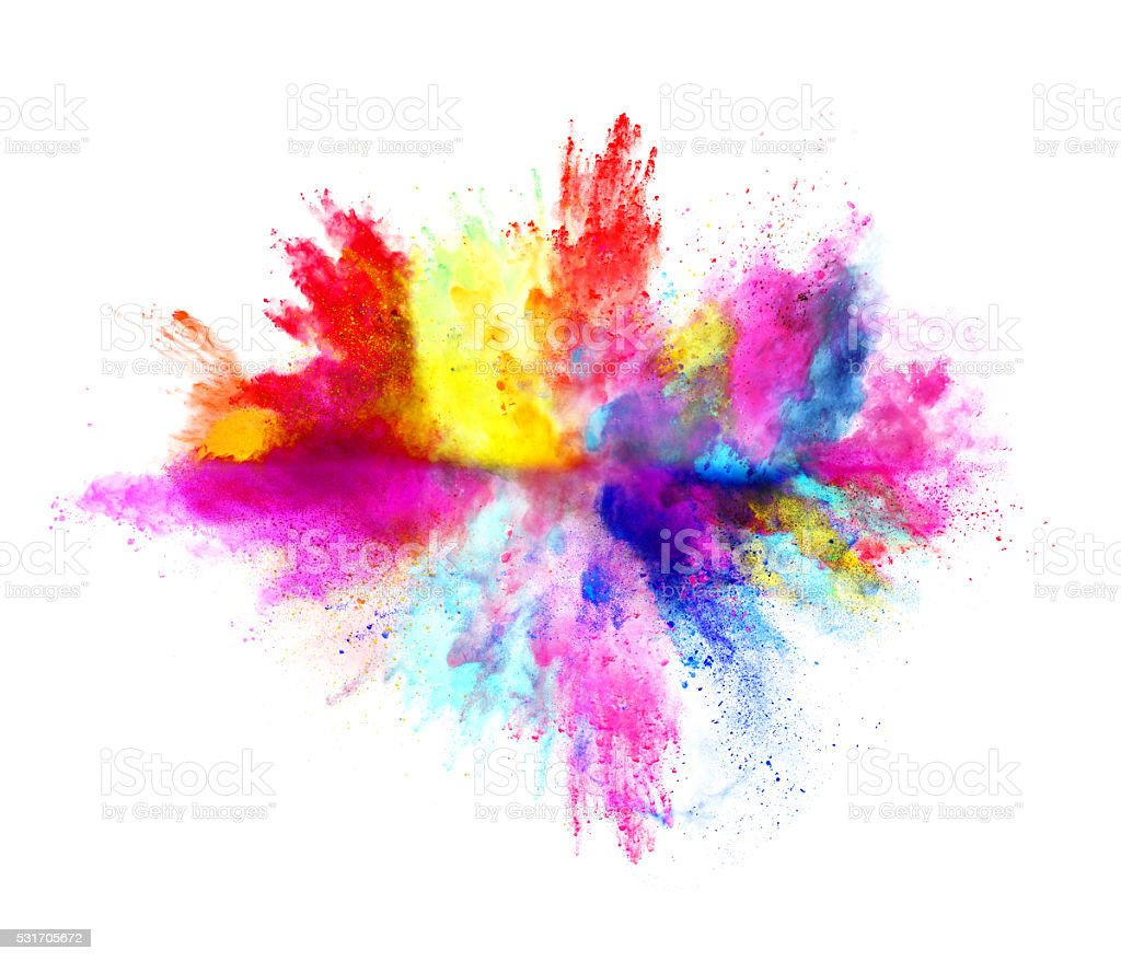 Explosion of colored powder on white background stock - Peinture avec effet texture ...