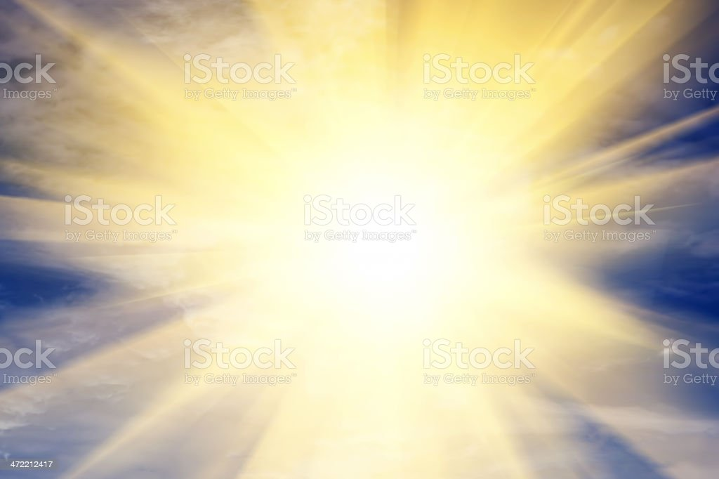 Explosion of light towards heaven, sun. Religion, God, providence. stock photo