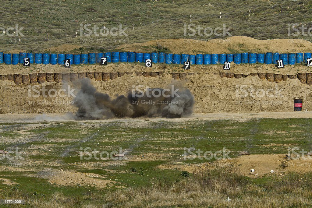 Explosion of rpg-7 ammunition. stock photo