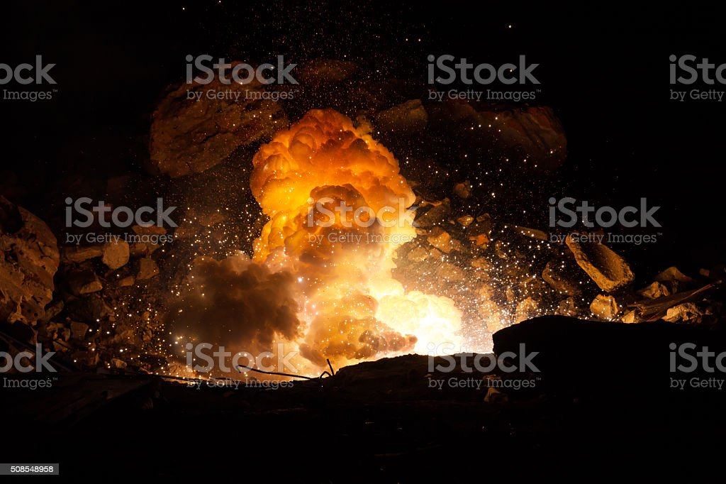 Explosion on the battlefield stock photo