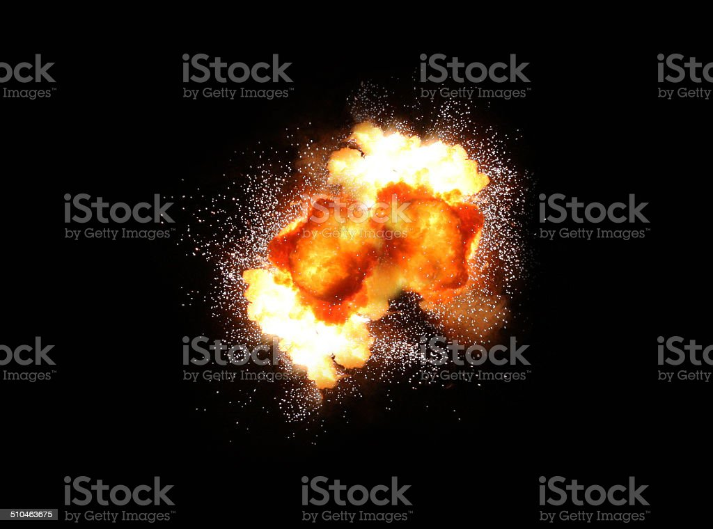 explosion over a black background stock photo