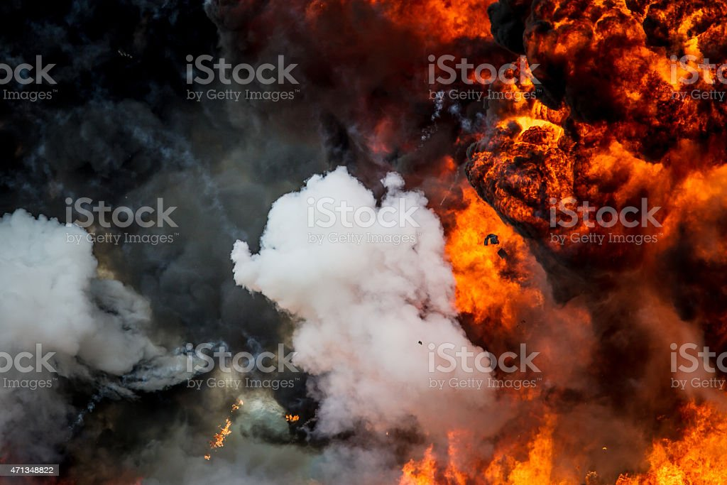 Explosion - smoke and flames stock photo