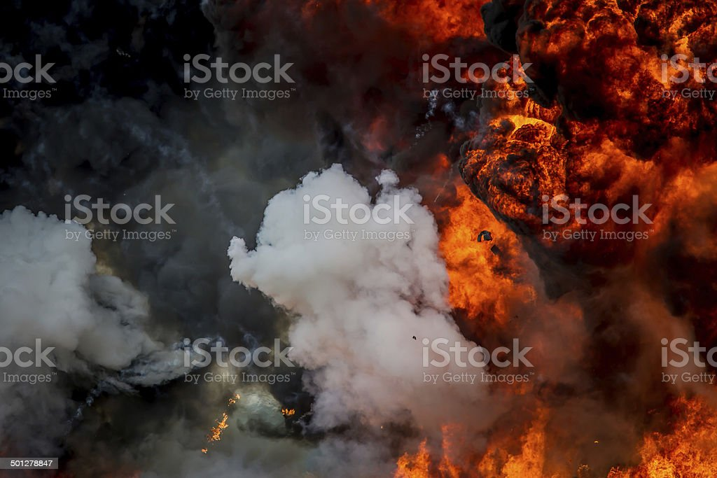 Explosion - smoke & flames - close-up stock photo