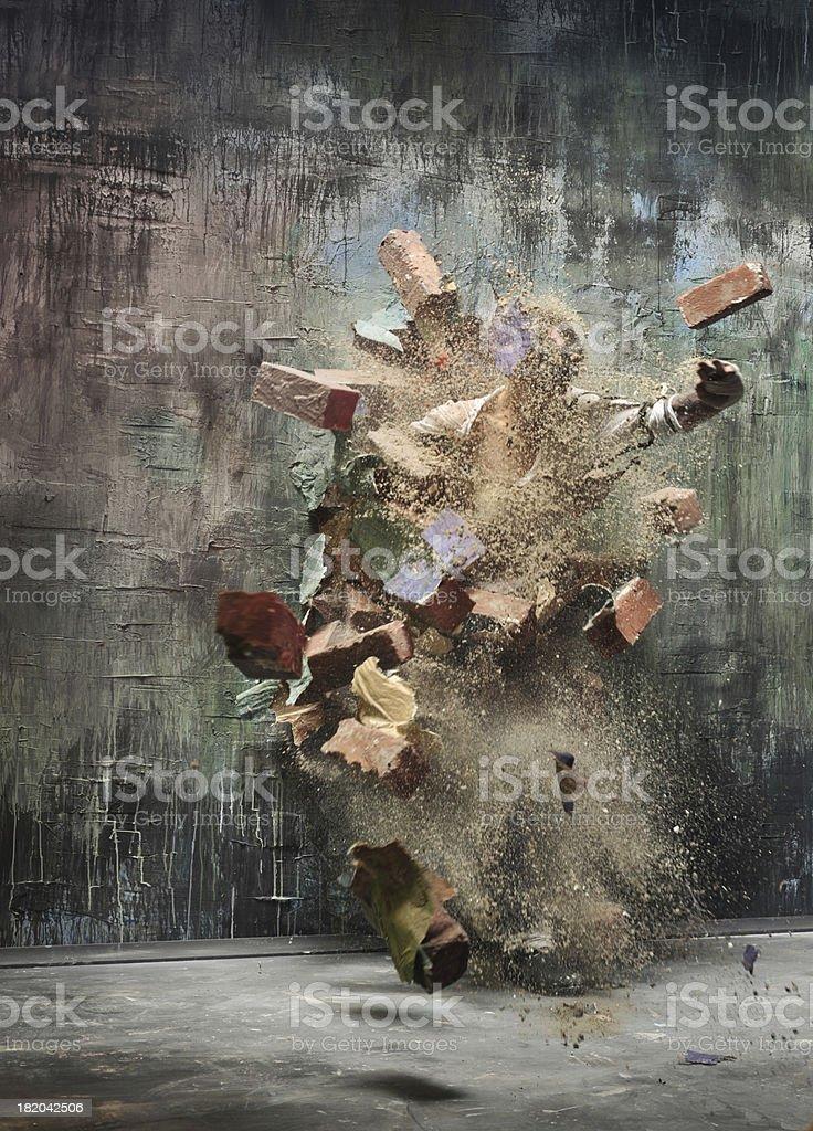 explosion wall stock photo