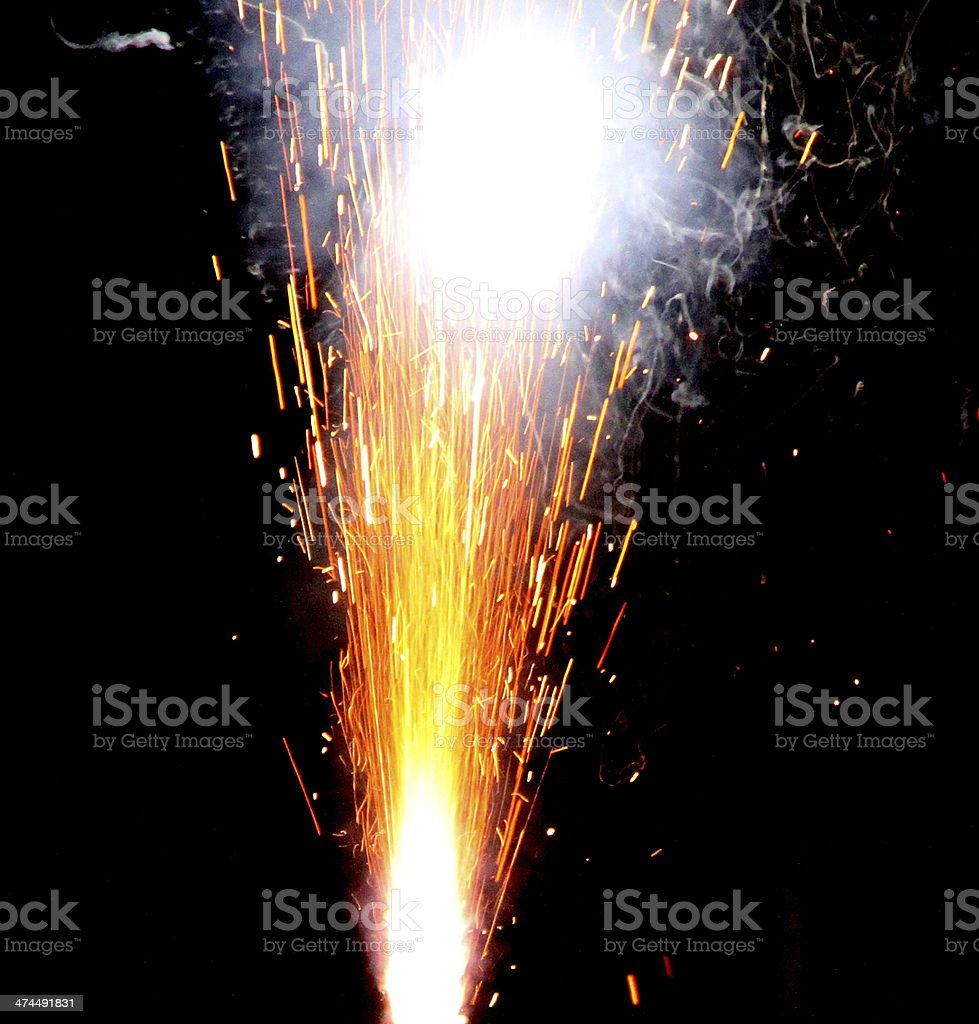 explosion with fire in the night stock photo