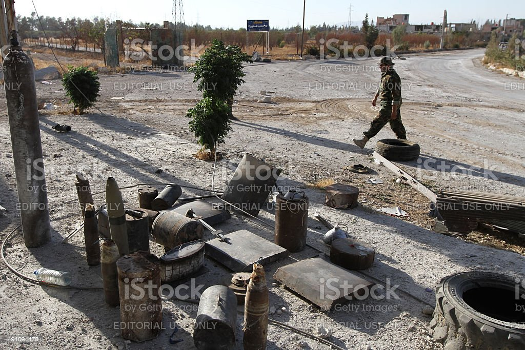 Explosive devices used against the Syrian national army stock photo