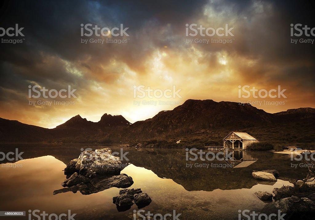 Explosive Lake Sunset stock photo