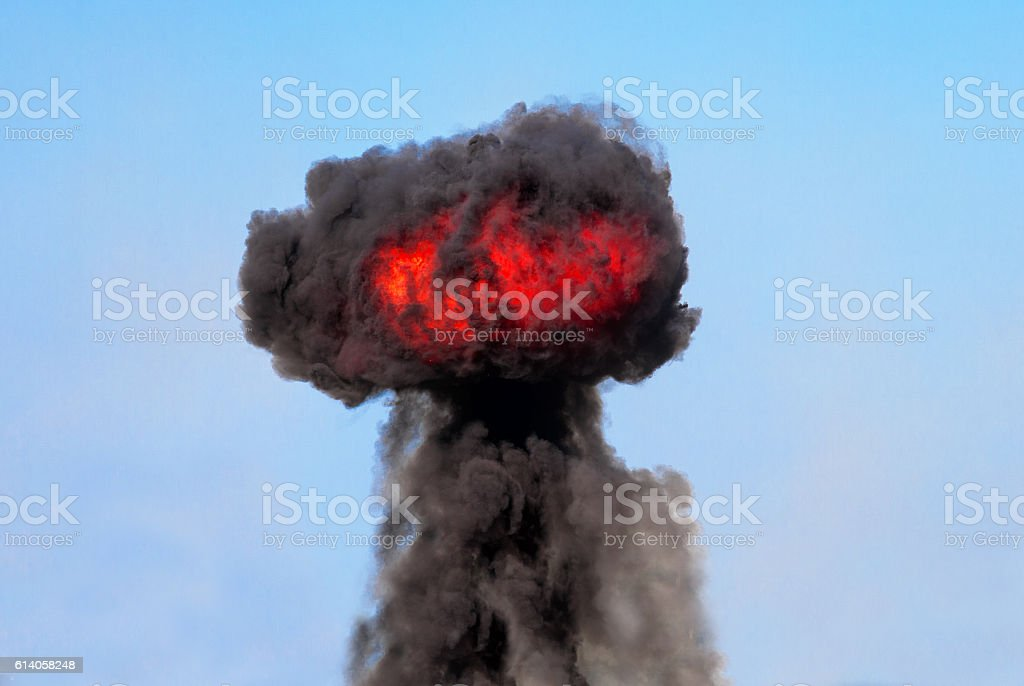 Explosive mushroom cloud stock photo
