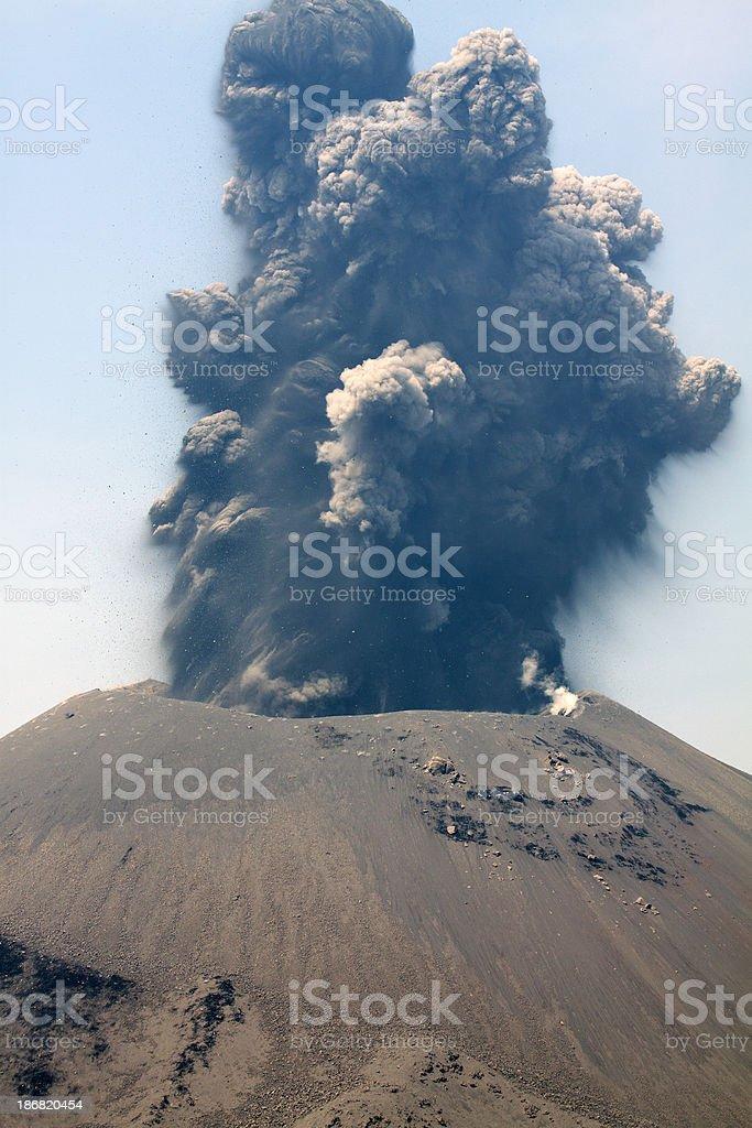 Explosive volcano eruption stock photo