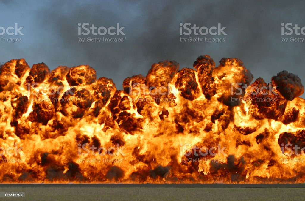 Explosive wall of fire and smoke stock photo
