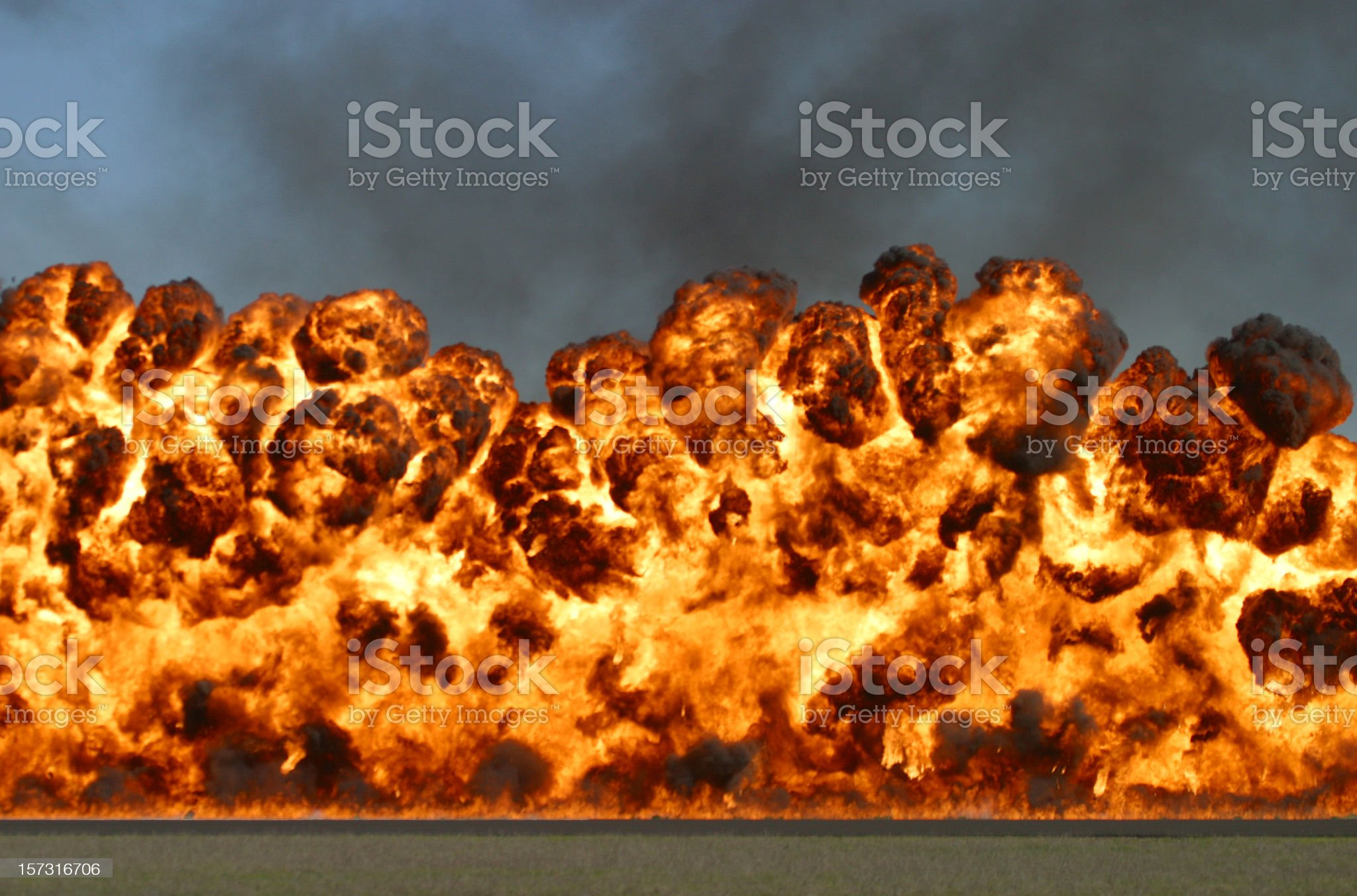 Explosive wall of fire and smoke royalty-free stock photo