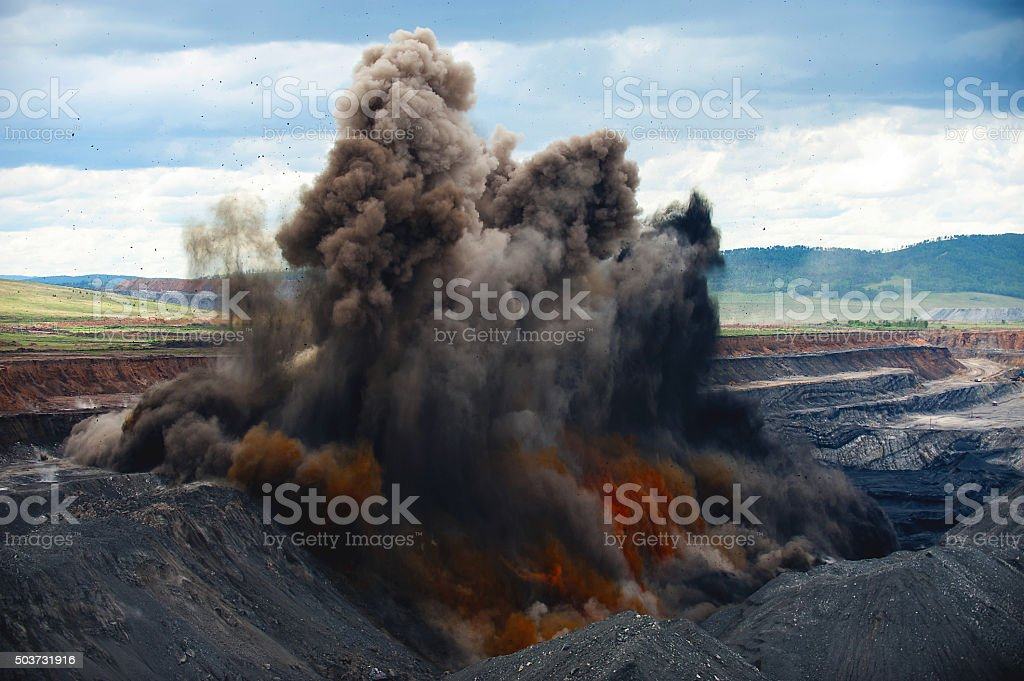 Explosive works on a coal mine stock photo