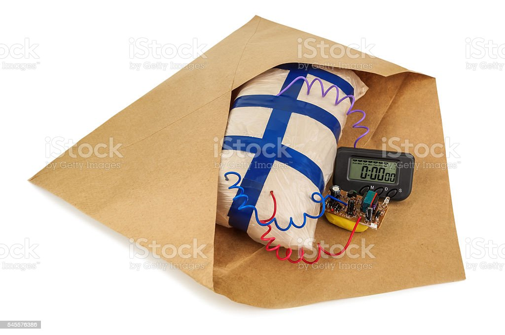 explosives in an envelope stock photo