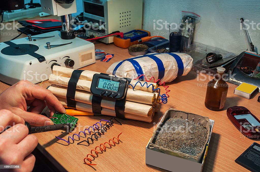explosives maker in workshop stock photo