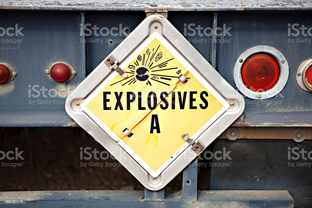 Explosives Truck Sign stock photo