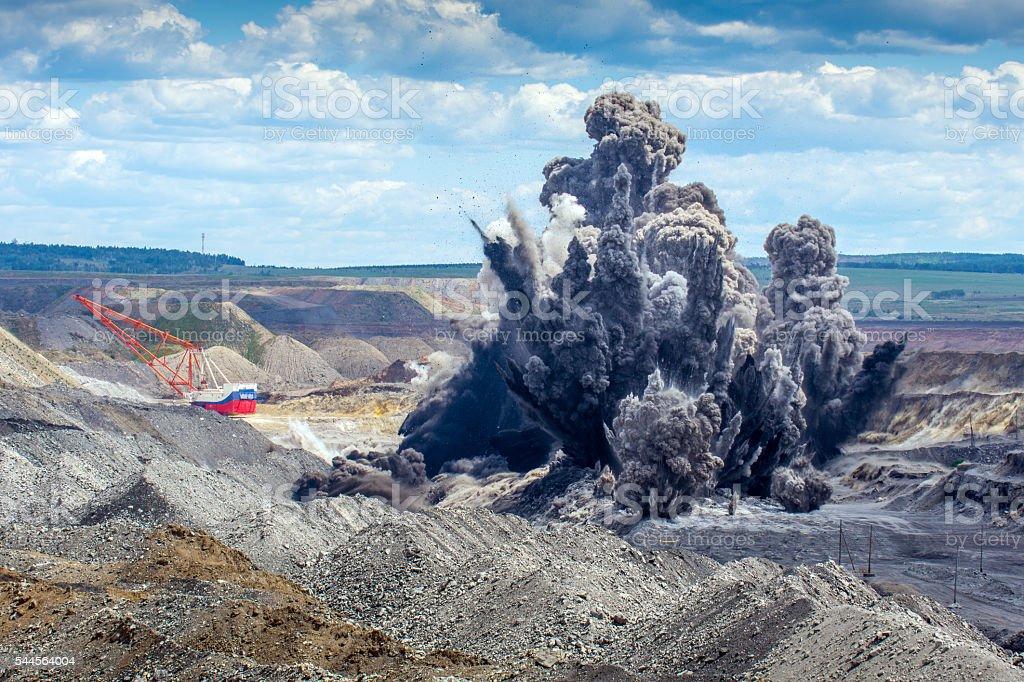 Explosure on open pit stock photo
