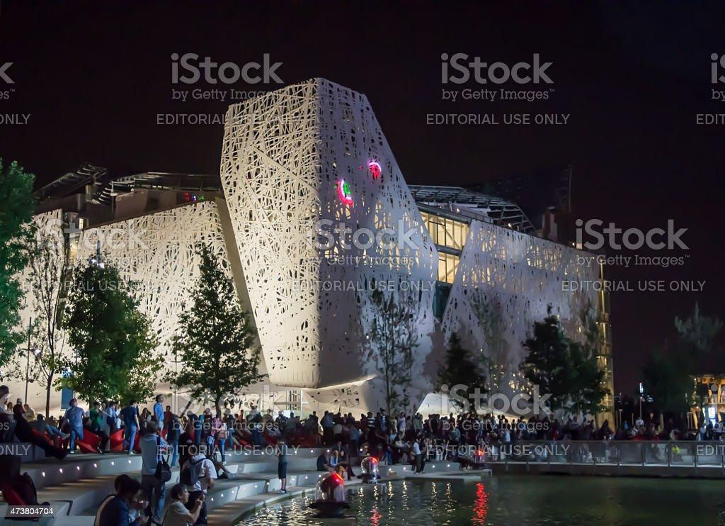 Expo 2015, People under the Italian Pavilion at night stock photo