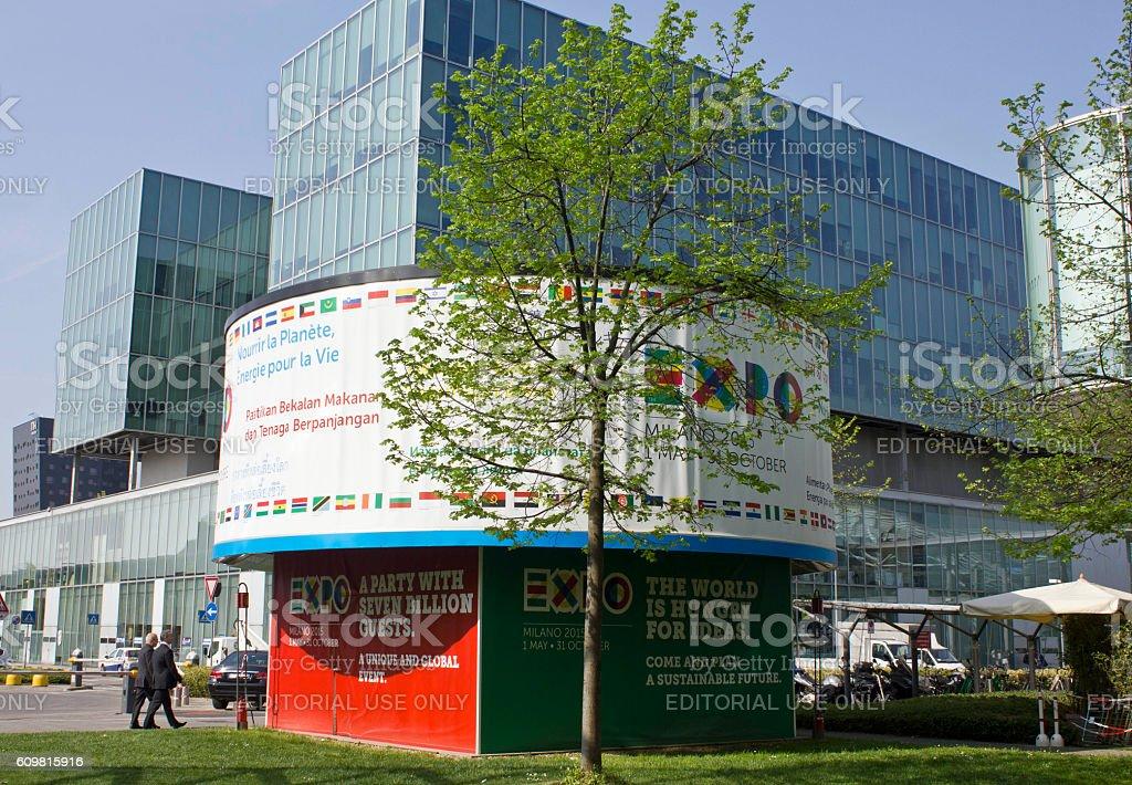 Expo 2015 promoting board inside Fiera Milano garden stock photo