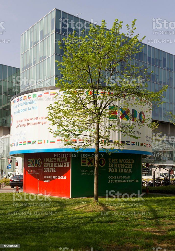 Expo 2015 promoting board stock photo