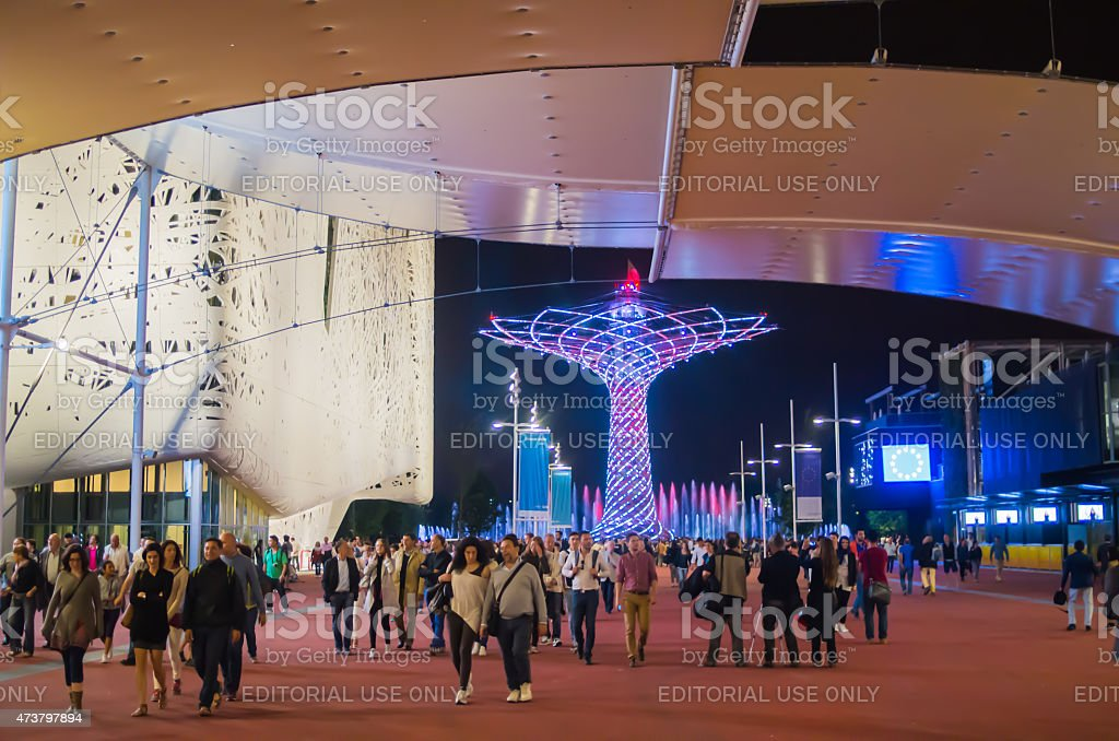 Expo 2015: The Tree of Life full illuminated with people stock photo