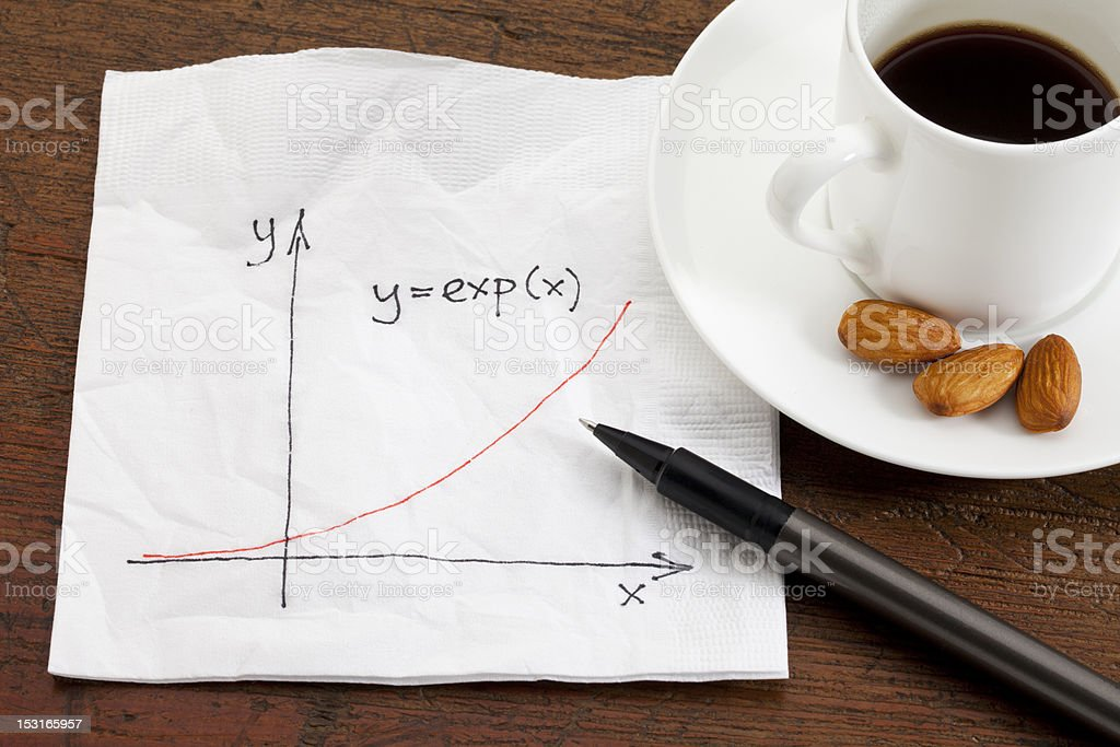 exponential growth on napkin royalty-free stock photo