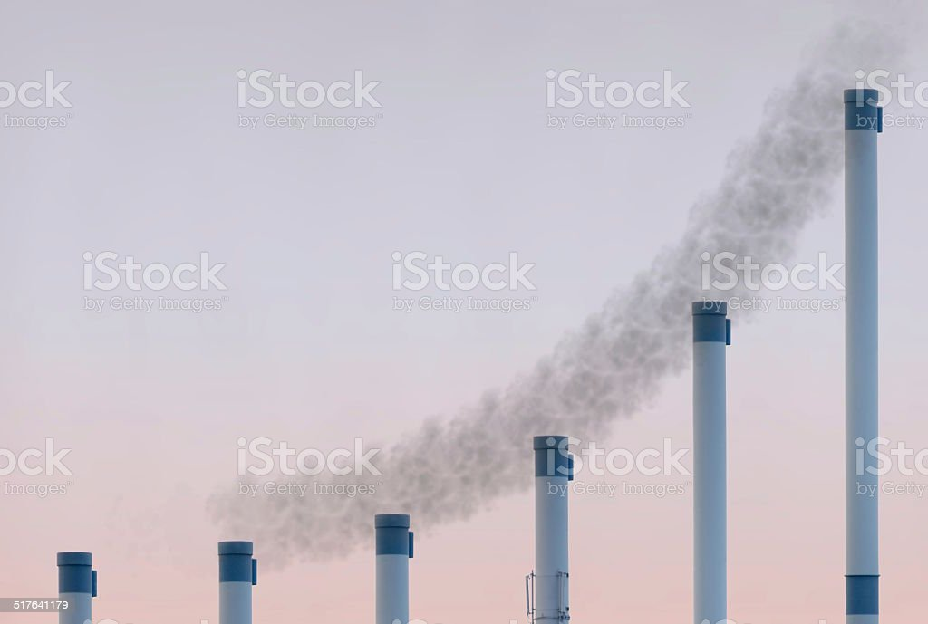 Exponential Pipes With Smoke stock photo