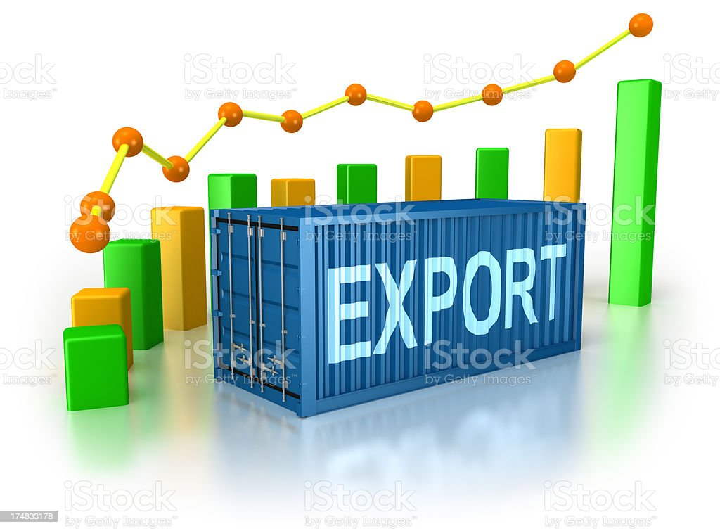 Export Cargo Container and progress chart. Colorful Bar Graph. royalty-free stock photo