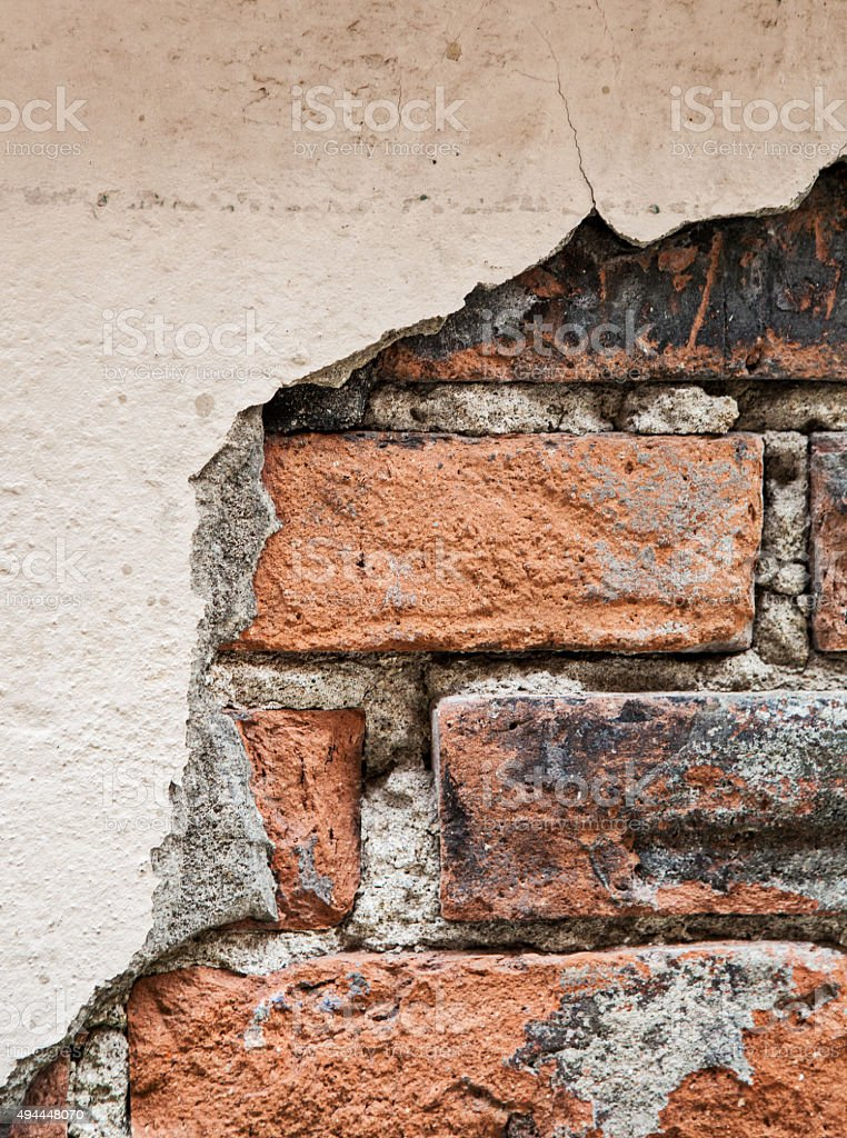 Exposed Brick Wall Old stock photo