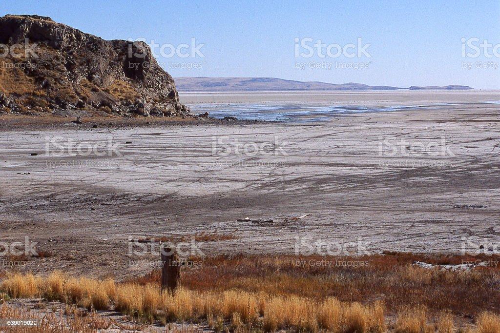 Exposed dry lake bed of the Great Salt Lake Utah stock photo