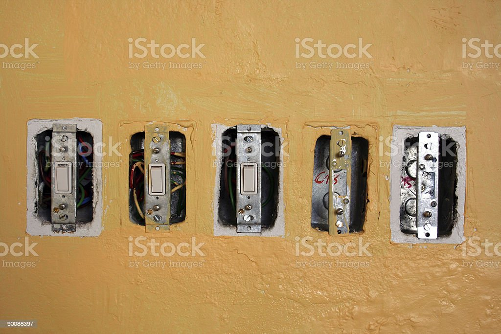 Exposed Light Switches royalty-free stock photo