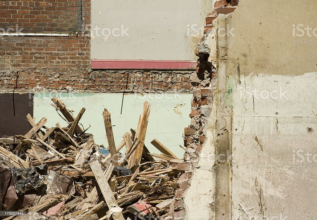 Exposed Walls and Rubble of Building Being Razed stock photo