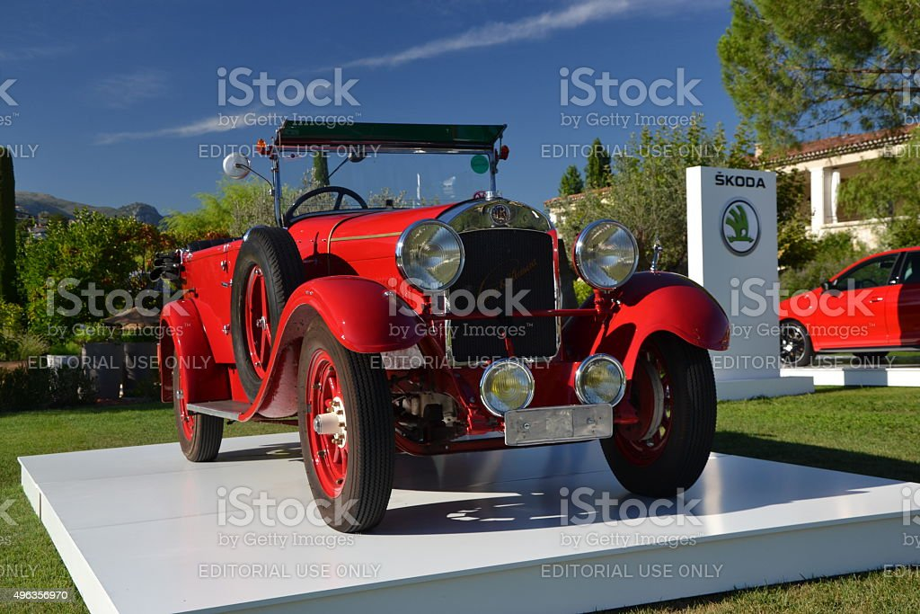 Exposition of classic Skoda Laurin & Klement vehicle stock photo