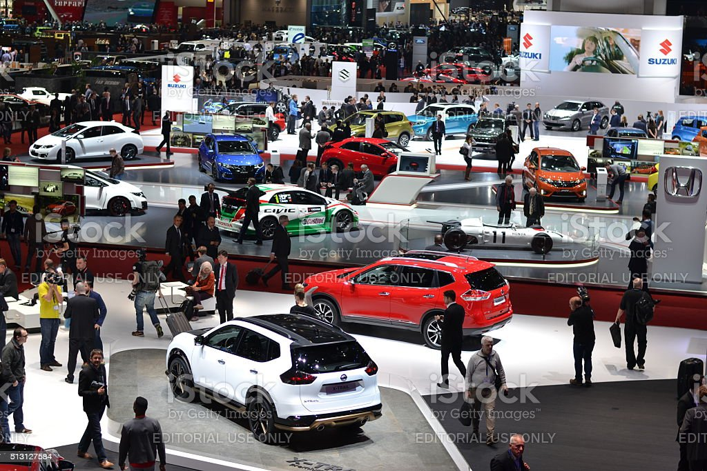 Exposition of modern cars on the motor show stock photo