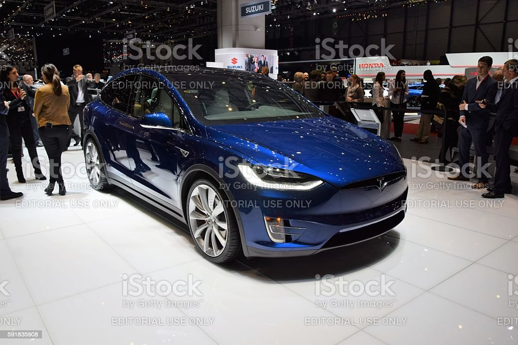Exposition of Tesla on the motor show stock photo