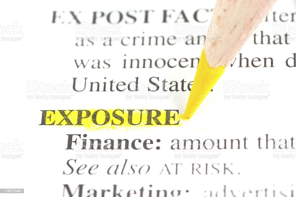 exposure definition highligted in dictionary royalty-free stock photo