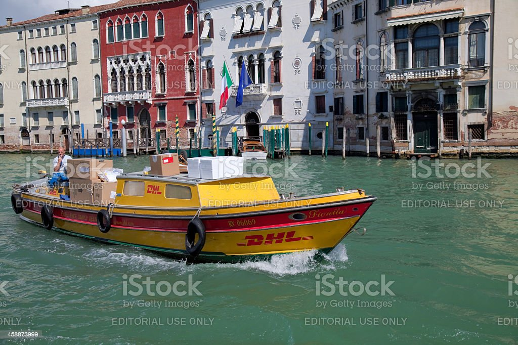 DHL Express delivery in Venice royalty-free stock photo