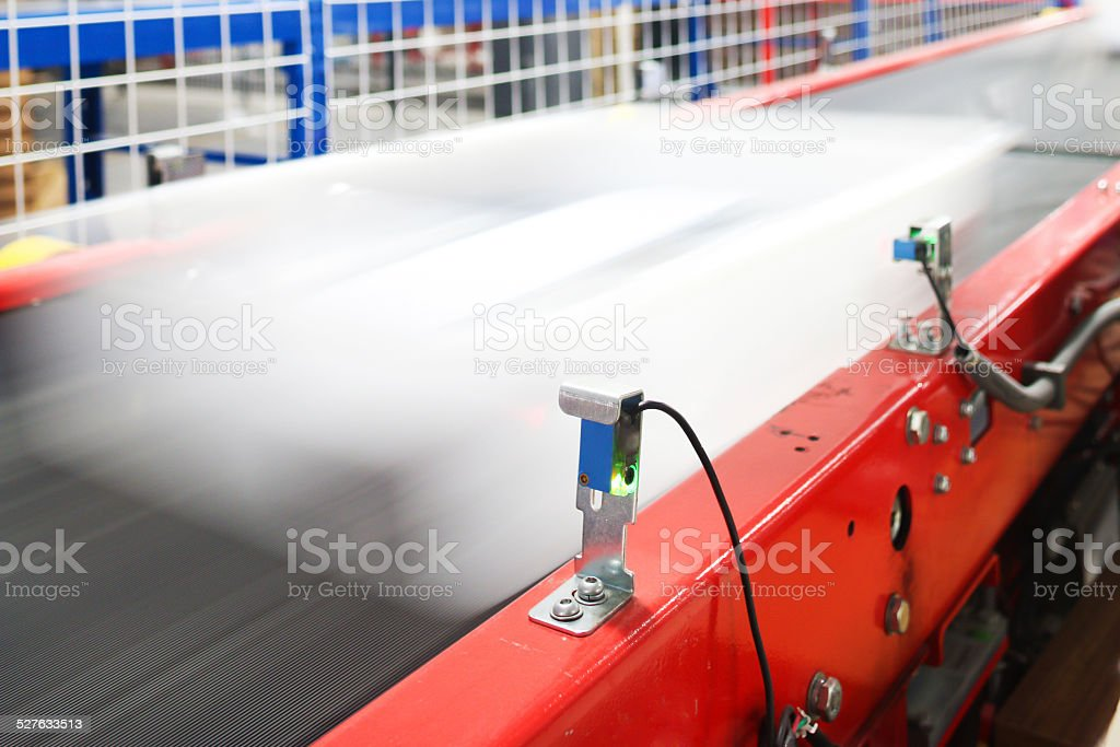 express delivery sorting assembly line in factory stock photo