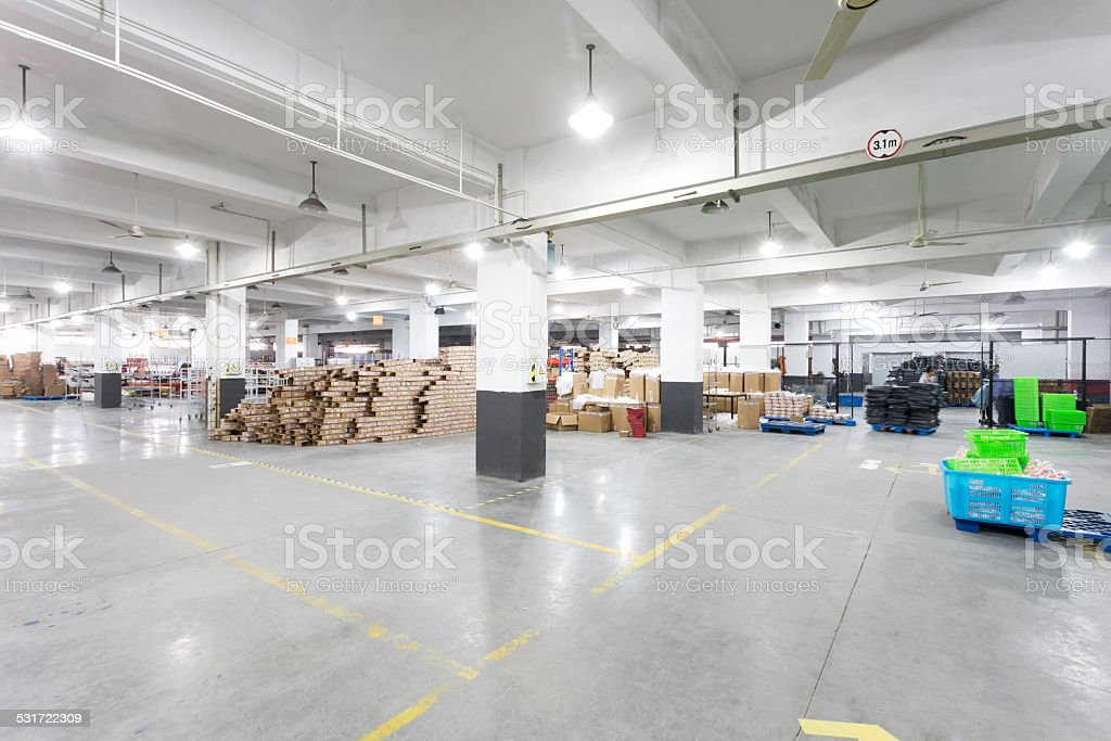 express delivery storage room interior in factory