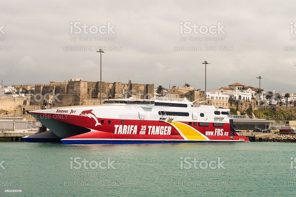 Express ferry going from Tarifa to Tanger. stock photo