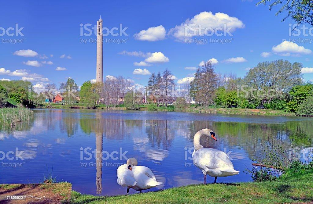 Express lift tower and lake. Northampton. stock photo