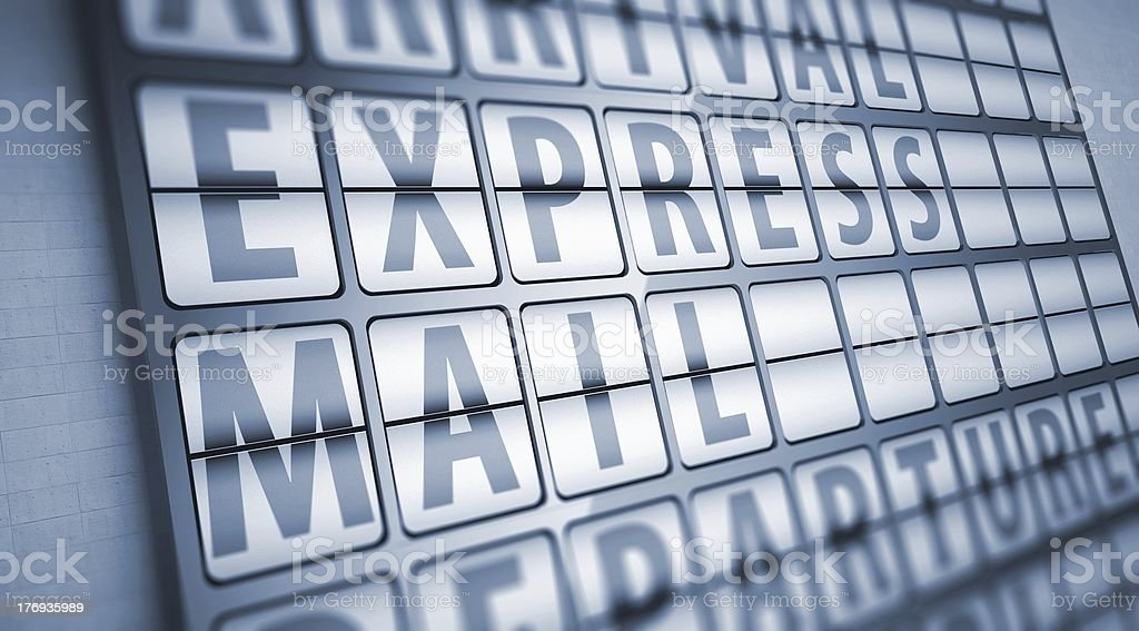 Express mail information on display board royalty-free stock photo