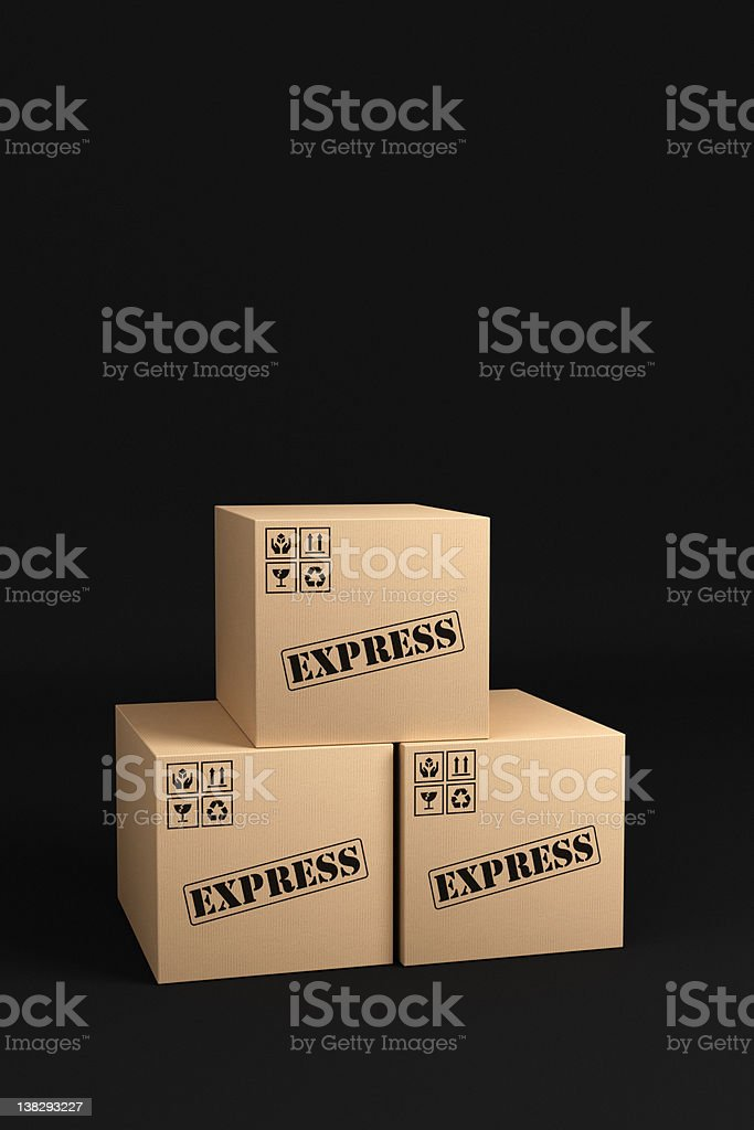 Express Shipping Boxes royalty-free stock photo
