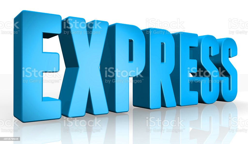 3D express text on white background stock photo