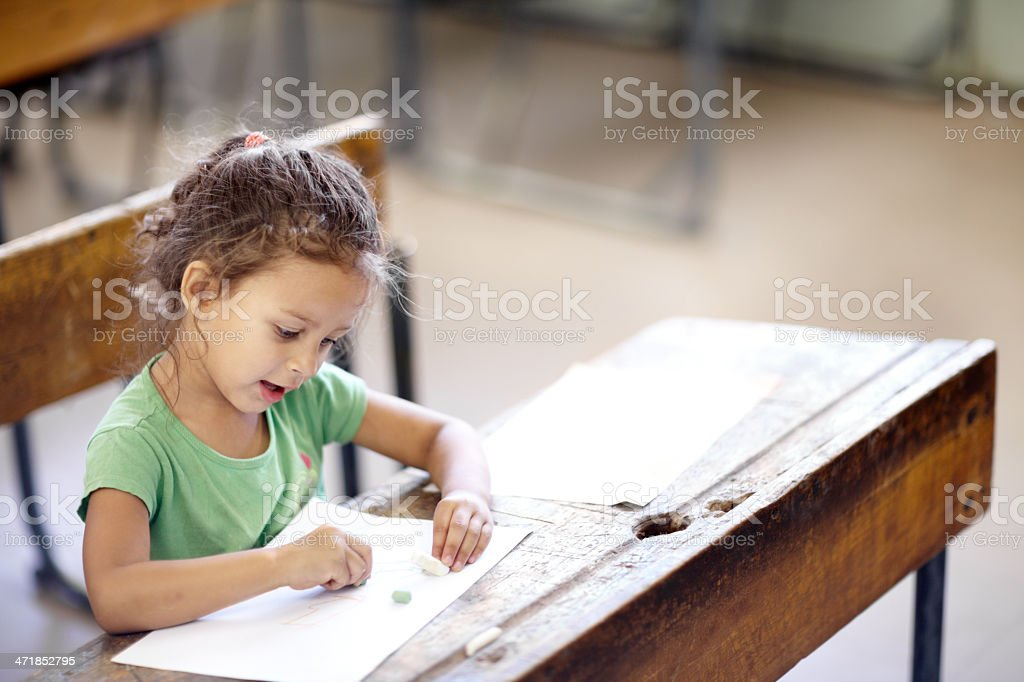 Expressing her creativity stock photo
