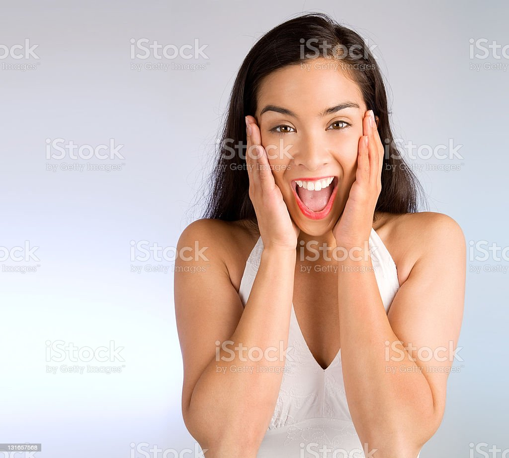 Expression of a Woman Winning Something Big stock photo